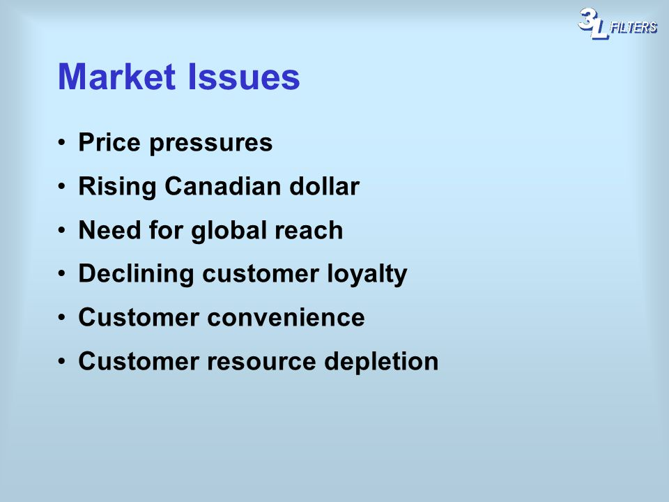 Market Issues Price pressures Rising Canadian dollar Need for global reach Declining customer loyalty Customer convenience Customer resource depletion