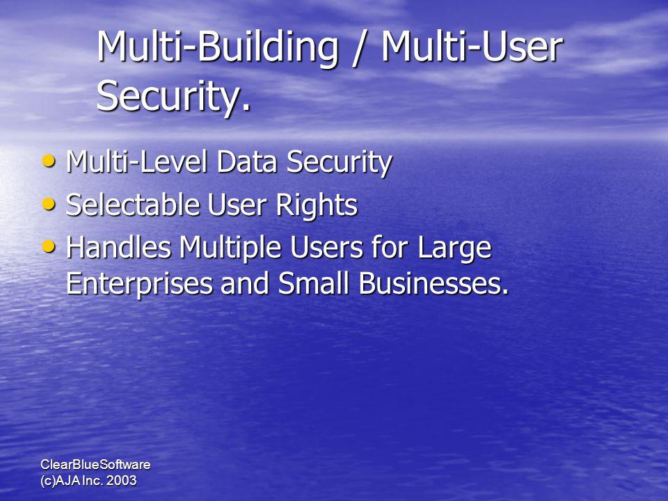 ClearBlueSoftware (c)AJA Inc. 2003 Multi-Building / Multi-User Security. Multi-Level Data Security Multi-Level Data Security Selectable User Rights Se