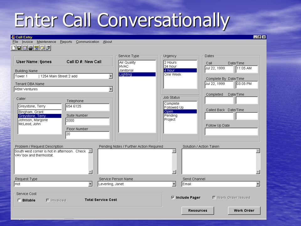 ClearBlueSoftware (c)AJA Inc. 2003 Enter Call Conversationally