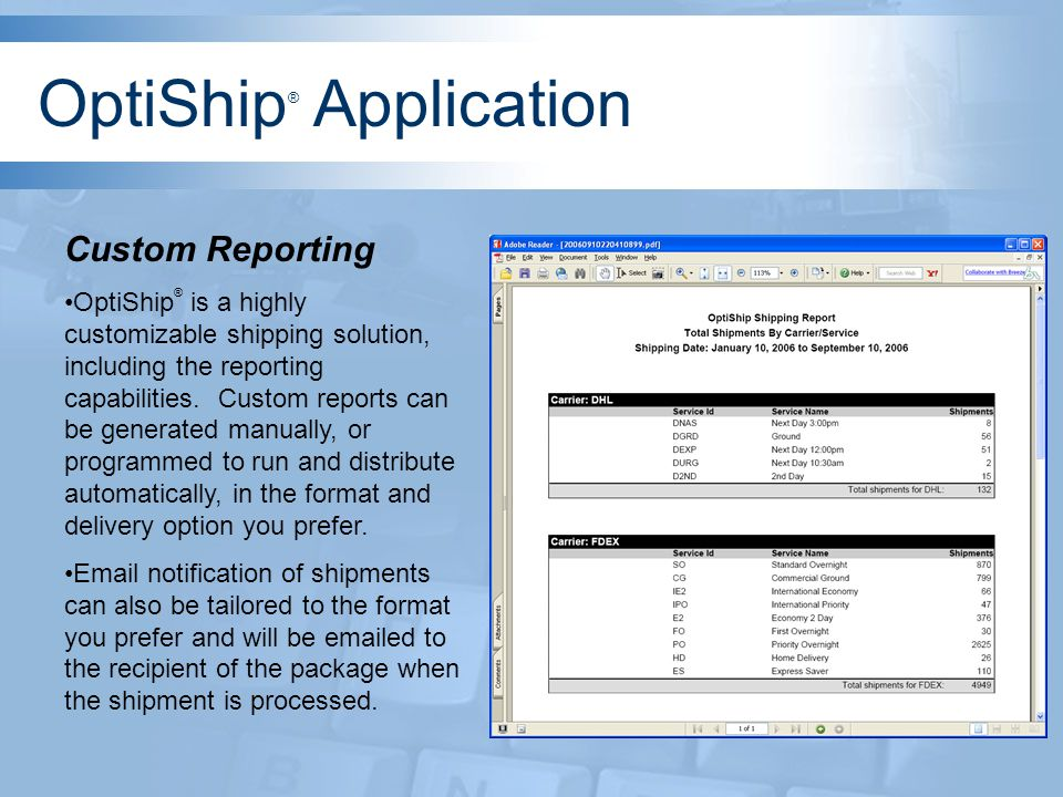 Custom Reporting OptiShip ® is a highly customizable shipping solution, including the reporting capabilities.