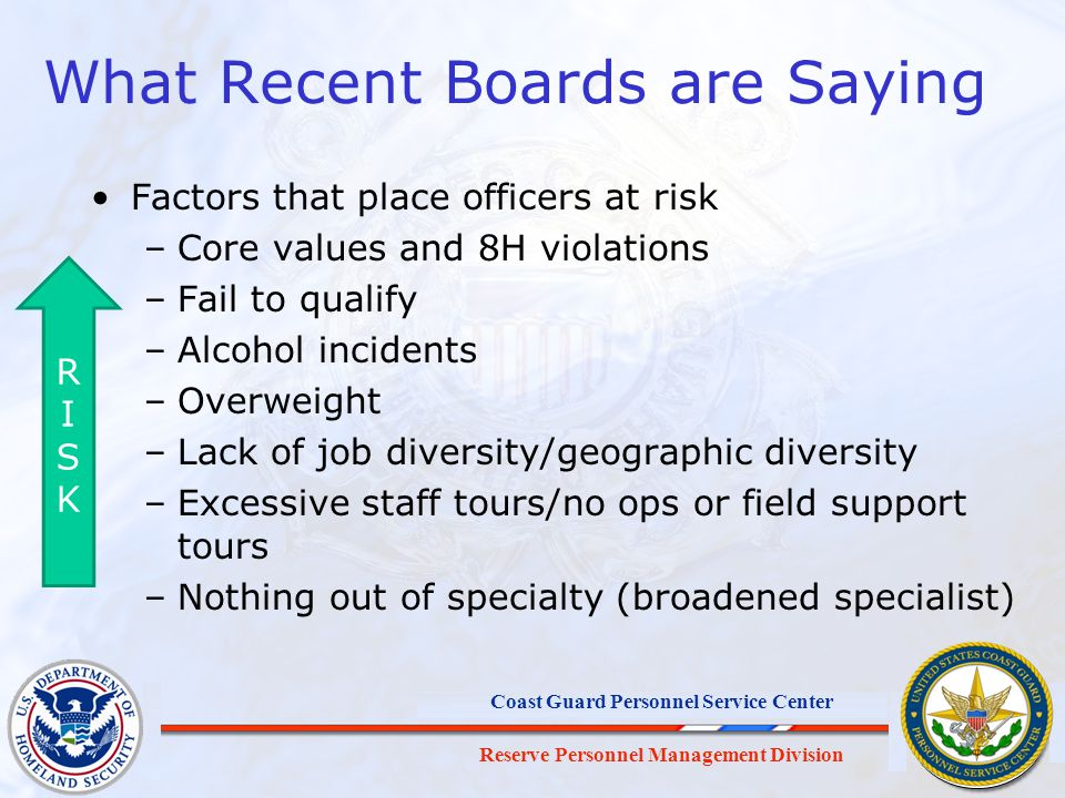 Reserve Personnel Management Division Coast Guard Personnel Service Center What Recent Boards are Saying Factors that place officers at risk –Core val