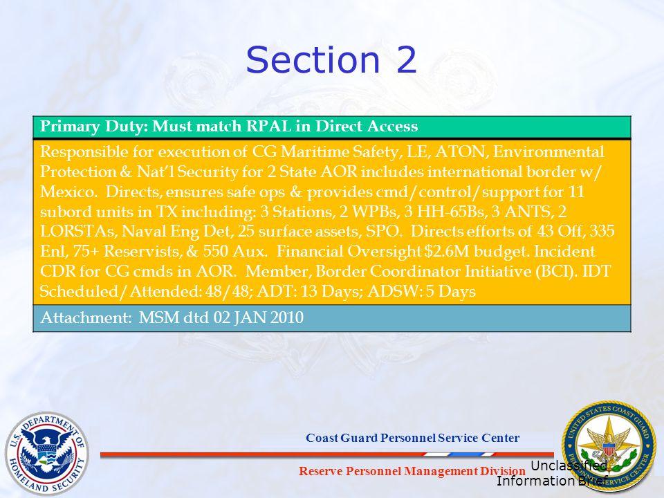 Reserve Personnel Management Division Coast Guard Personnel Service Center Which schedule.
