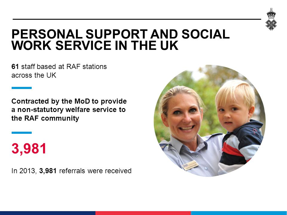 PERSONAL SUPPORT AND SOCIAL WORK SERVICE IN THE UK 61 staff based at RAF stations across the UK Contracted by the MoD to provide a non-statutory welfa