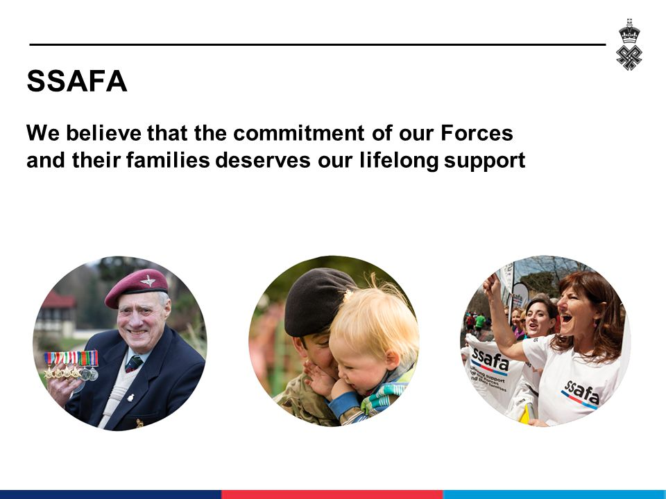 – Support Veterans – Support the Service Family – Provide MOD Contracted Health and Social Work – Provide Housing – Provide Specialist Services WHAT SSAFA DOES