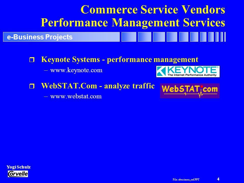 File: ebusiness_ref.PPT 4 Yogi Schulz e-Business Projects Commerce Service Vendors Performance Management Services r Keynote Systems - performance management –www.keynote.com r WebSTAT.Com - analyze traffic –www.webstat.com