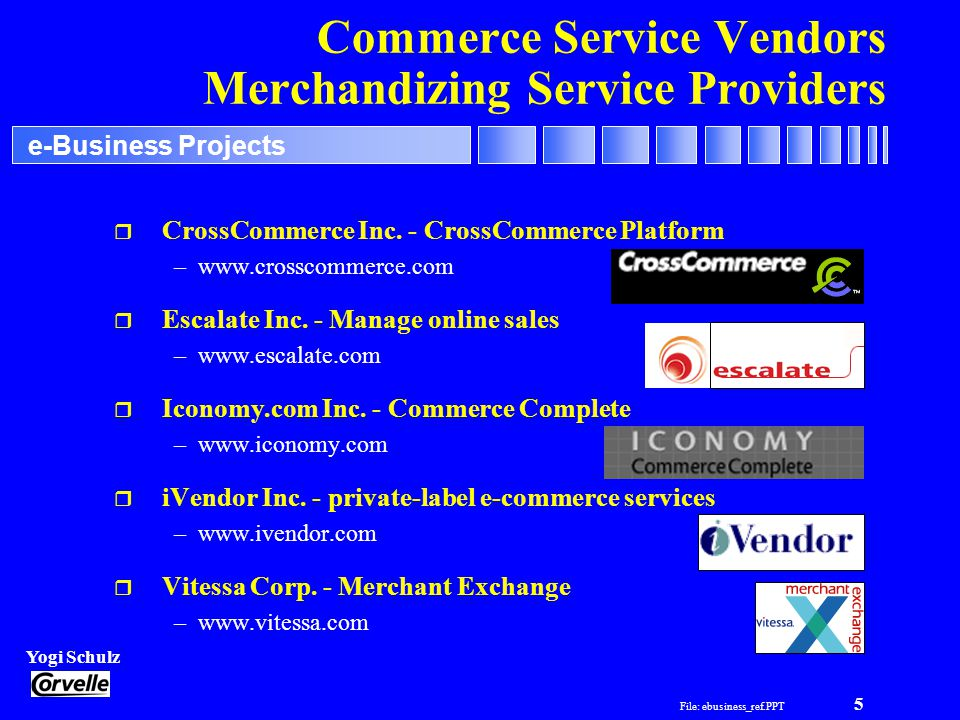 File: ebusiness_ref.PPT 5 Yogi Schulz e-Business Projects Commerce Service Vendors Merchandizing Service Providers r CrossCommerce Inc.