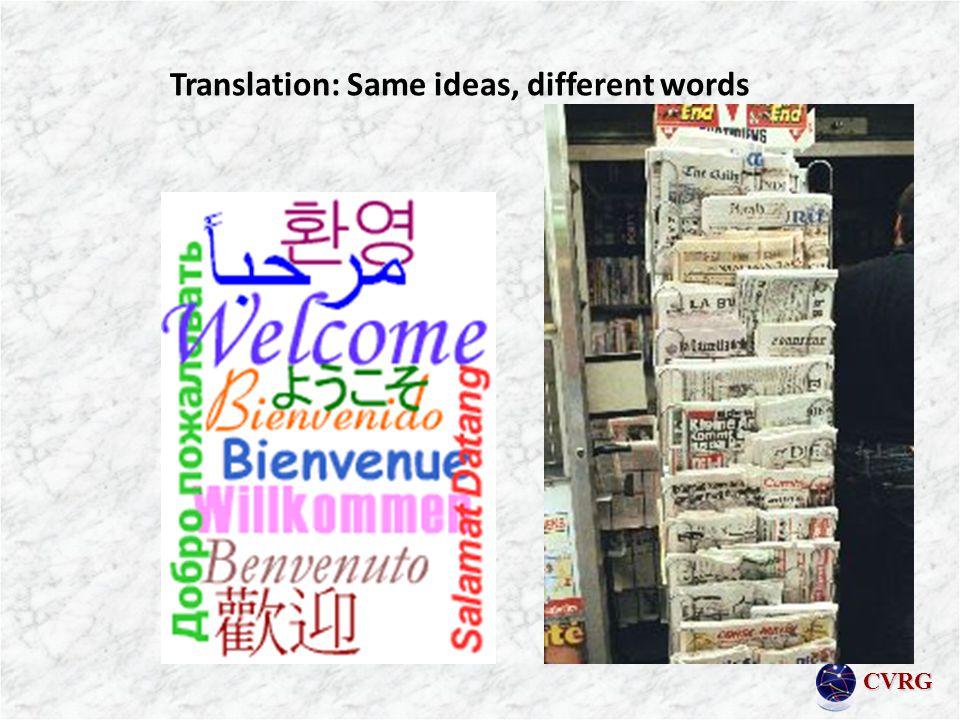 CVRG Translation: Same ideas, different words