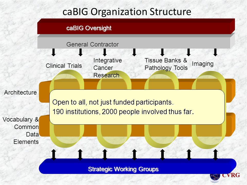 CVRG caBIG Organization Structure Architecture Vocabulary & Common Data Elements General Contractor Strategic Working Groups Clinical Trials Integrative Cancer Research Tissue Banks & Pathology Tools caBIG Oversight Imaging Open to all, not just funded participants.