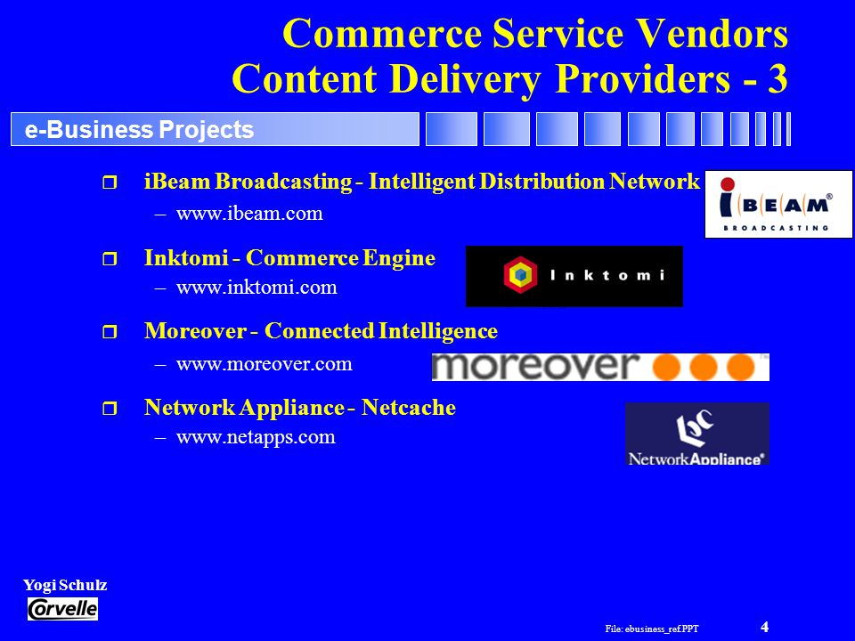 File: ebusiness_ref.PPT 4 Yogi Schulz e-Business Projects Commerce Service Vendors Content Delivery Providers - 3 r iBeam Broadcasting - Intelligent Distribution Network –www.ibeam.com r Inktomi - Commerce Engine –www.inktomi.com r Moreover - Connected Intelligence –www.moreover.com r Network Appliance - Netcache –www.netapps.com