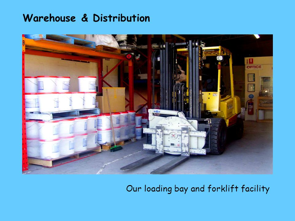 Our loading bay and forklift facility Warehouse & Distribution