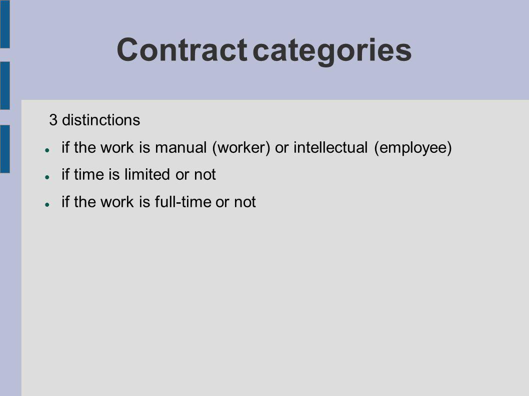 Contract categories 3 distinctions if the work is manual (worker) or intellectual (employee) if time is limited or not if the work is full-time or not