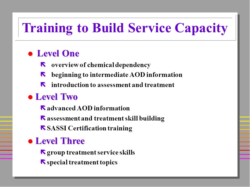 Additional Training Components l Strategies for Family Change l Resiliency Training l Motivational Interviewing l Adolescent Treatment Training