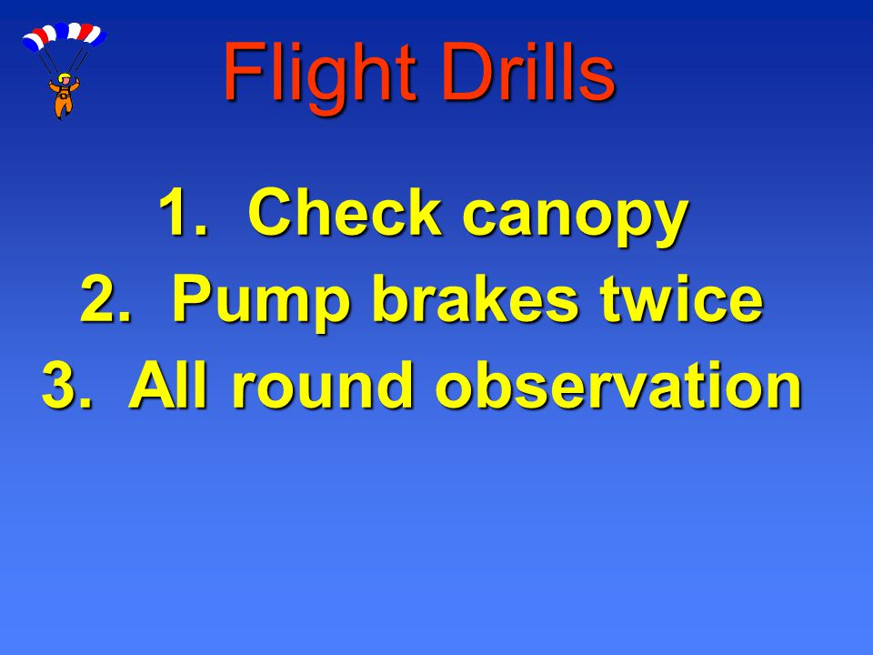 Flight Drills 1. Check canopy 2. Pump brakes twice 3. All round observation