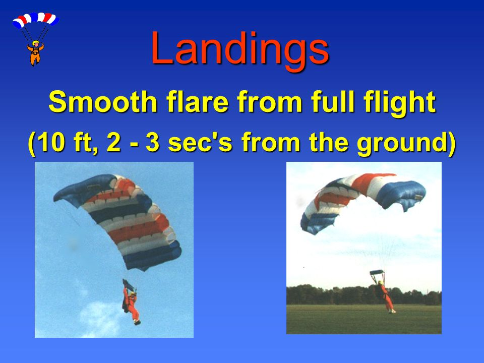Landings Smooth flare from full flight (10 ft, 2 - 3 sec's from the ground)