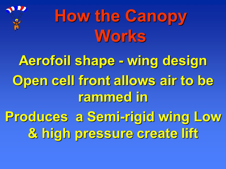 How the Canopy Works Aerofoil shape - wing design Open cell front allows air to be rammed in Produces a Semi-rigid wing Low & high pressure create lif