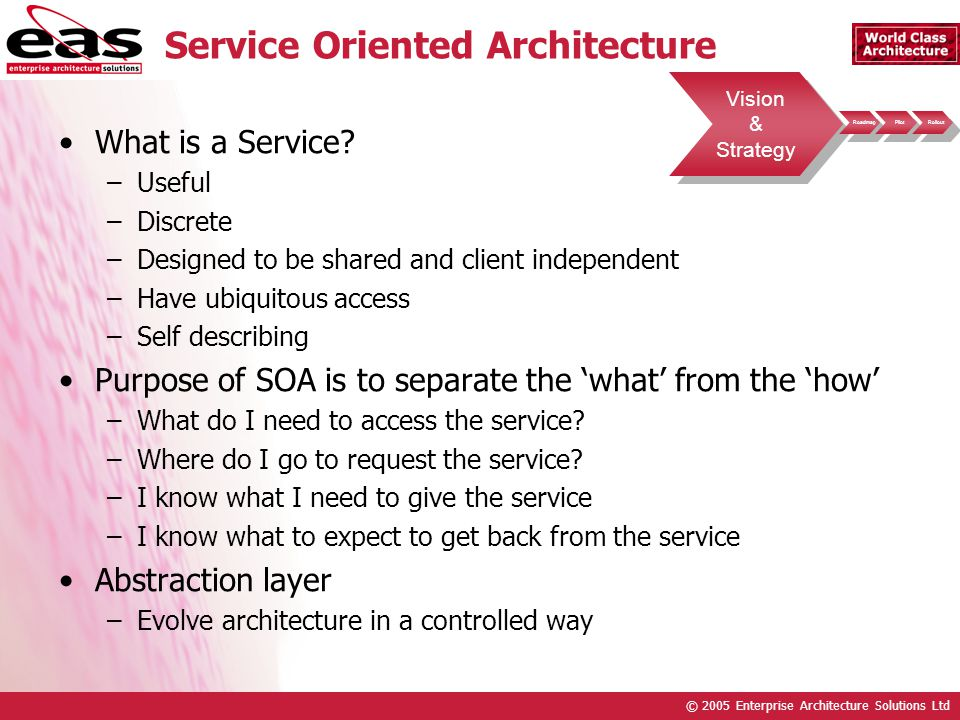 © 2005 Enterprise Architecture Solutions Ltd Service Oriented Architecture What is a Service.