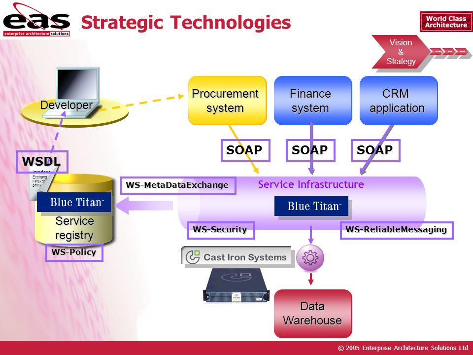 © 2005 Enterprise Architecture Solutions Ltd Vision & Strategy Vision & Strategy Roadmap Pilot Rollout Strategic Technologies Developer Procurementsys