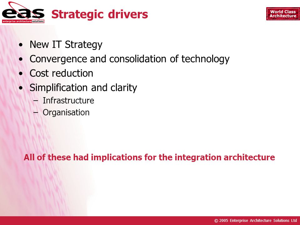 © 2005 Enterprise Architecture Solutions Ltd Strategic drivers New IT Strategy Convergence and consolidation of technology Cost reduction Simplification and clarity –Infrastructure –Organisation All of these had implications for the integration architecture