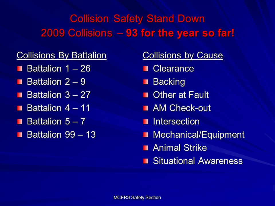 MCFRS Safety Section Collision Safety Stand Down 2009 Collisions – 93 for the year so far.