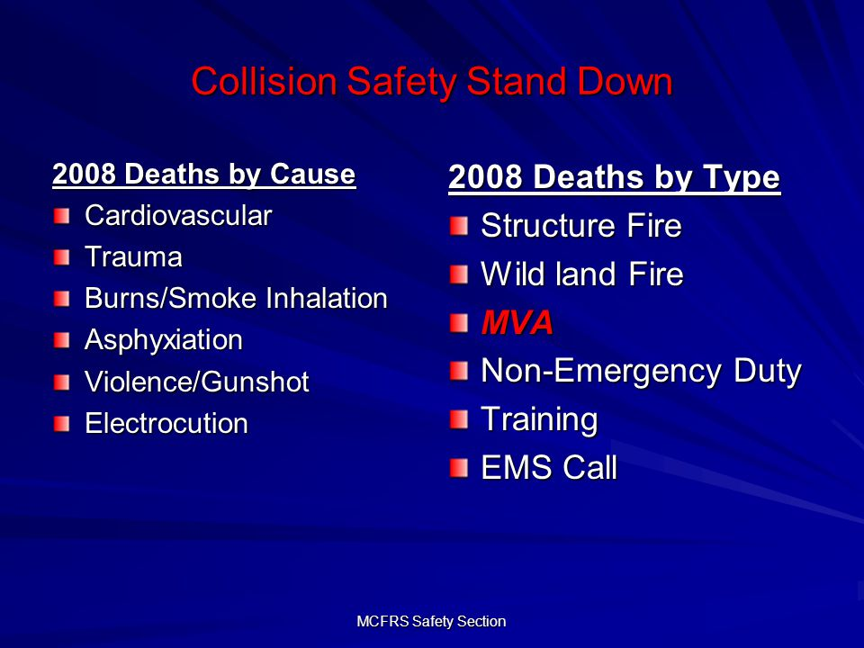 MCFRS Safety Section Collision Safety Stand Down 2007 – 2009 Preventable v.