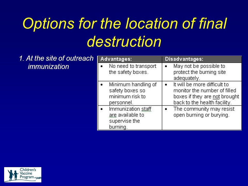 Options for the location of final destruction 1. At the site of outreach immunization