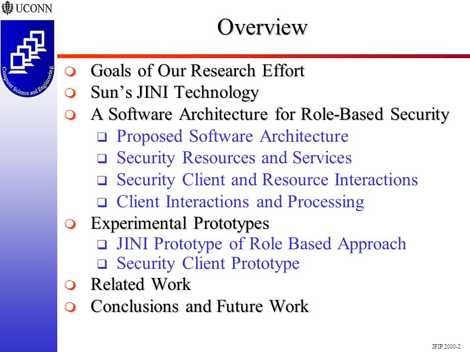 IFIP 2000-2Overview Goals of Our Research Effort Goals of Our Research Effort Suns JINI Technology Suns JINI Technology A Software Architecture for Ro