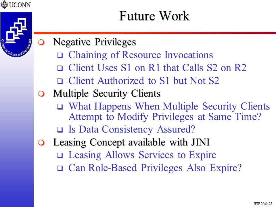 IFIP 2000-25 Future Work Negative Privileges Negative Privileges Chaining of Resource Invocations Client Uses S1 on R1 that Calls S2 on R2 Client Auth