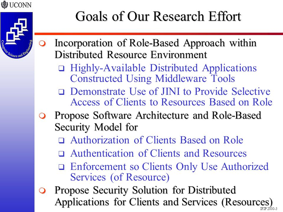 IFIP 2000-3 Goals of Our Research Effort Incorporation of Role-Based Approach within Distributed Resource Environment Incorporation of Role-Based Appr