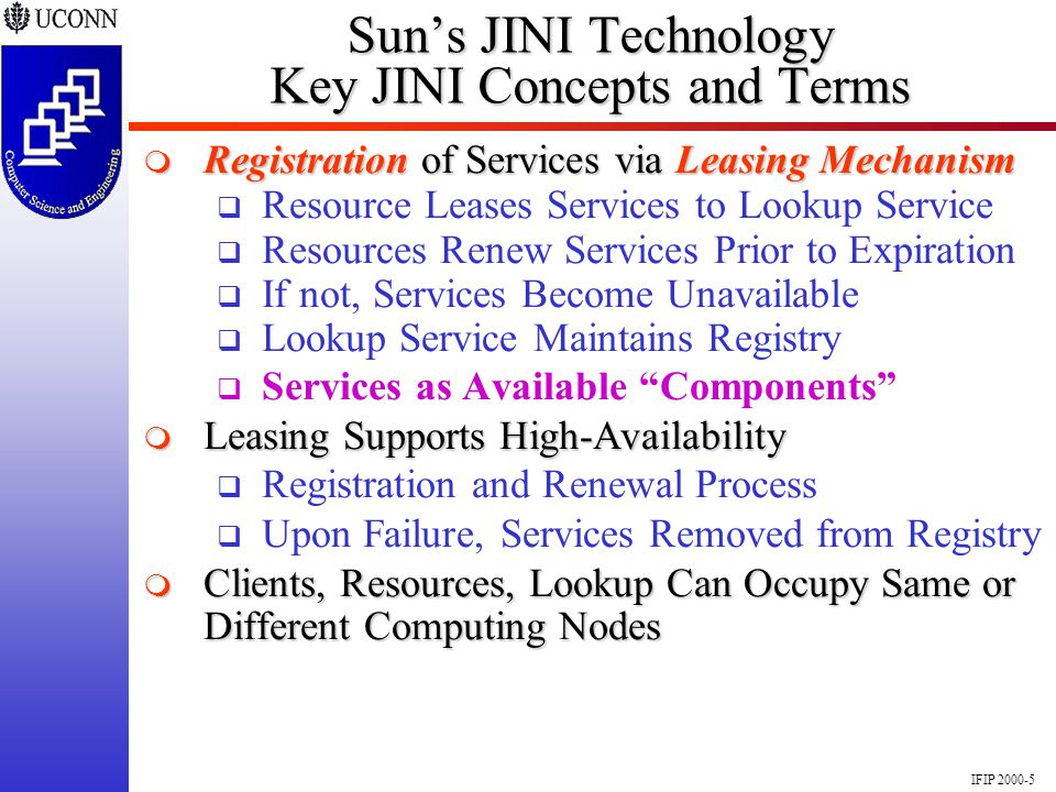 IFIP 2000-5 Suns JINI Technology Key JINI Concepts and Terms Registration of Services via Leasing Mechanism Registration of Services via Leasing Mecha