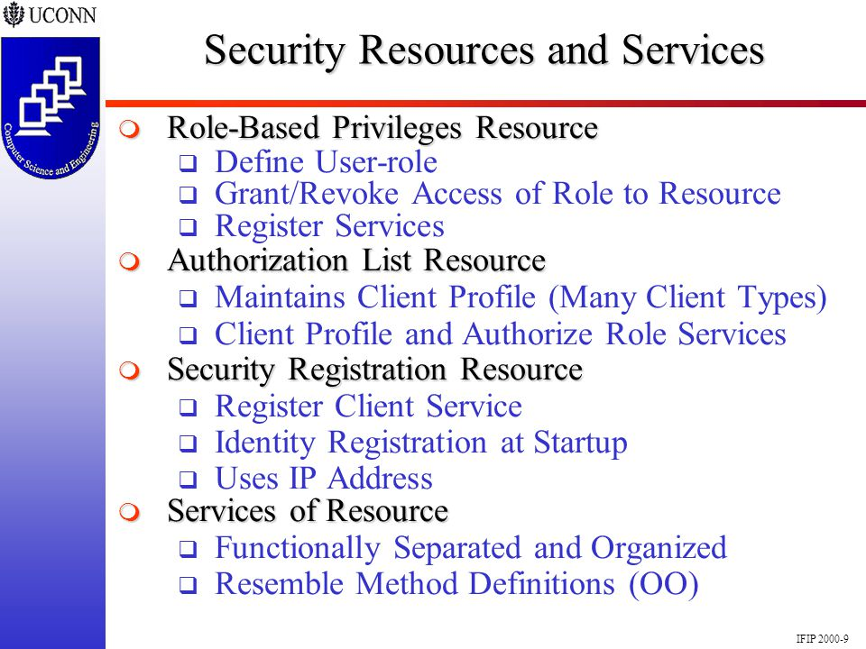 IFIP 2000-9 Security Resources and Services Role-Based Privileges Resource Role-Based Privileges Resource Define User-role Grant/Revoke Access of Role