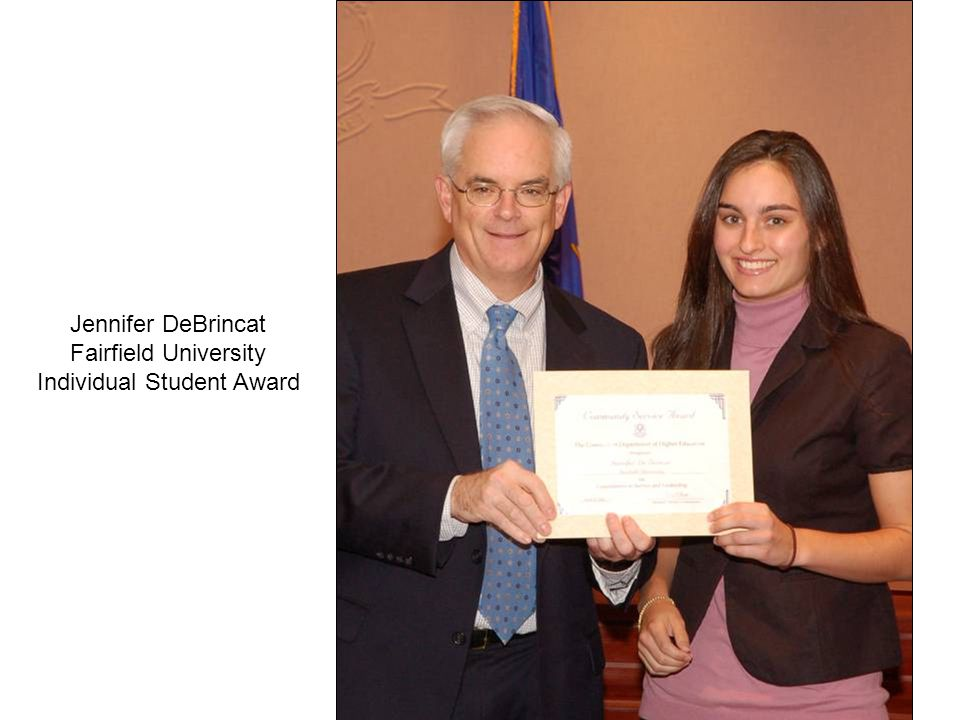 Jennifer DeBrincat Fairfield University Individual Student Award