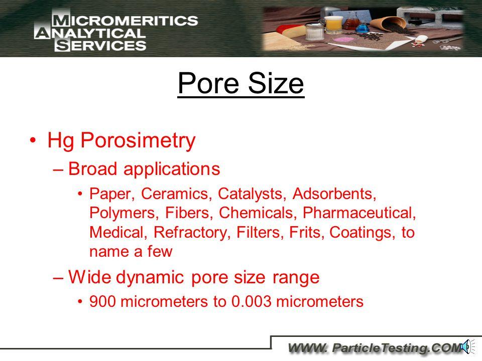 Pore Size Mercury Porosimetry Gas Adsorption Porosimetry