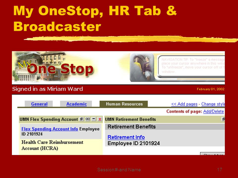 Session #-and Name17 My OneStop, HR Tab & Broadcaster