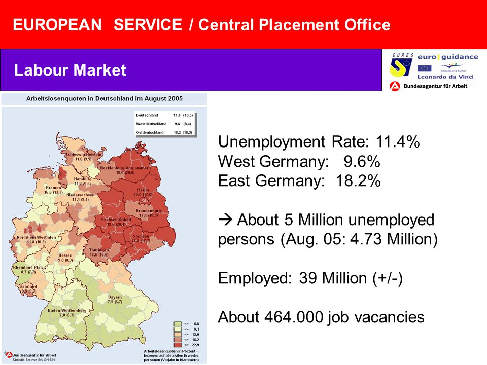 EUROPEAN SERVICE / Central Placement Office Unemployment Rate: 11.4% West Germany: 9.6% East Germany: 18.2% About 5 Million unemployed persons (Aug.