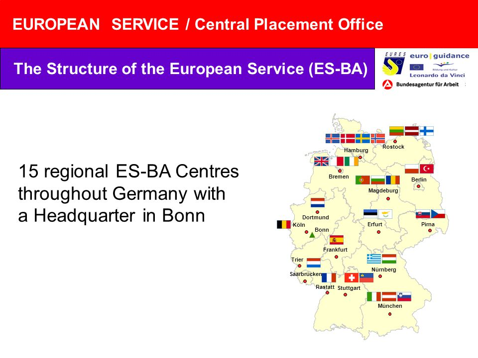 EUROPEAN SERVICE / Central Placement Office The Structure of the European Service (ES-BA) 15 regional ES-BA Centres throughout Germany with a Headquarter in Bonn