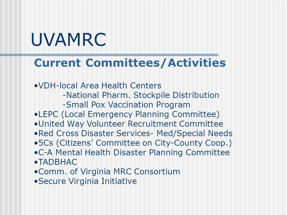 Current Committees/Activities VDH-local Area Health Centers -National Pharm.