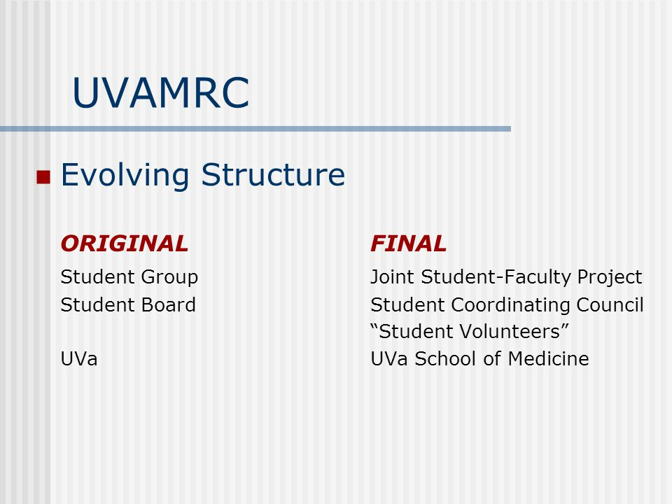 UVAMRC Evolving Structure ORIGINALFINAL Student GroupJoint Student-Faculty Project Student BoardStudent Coordinating Council Student Volunteers UVaUVa School of Medicine