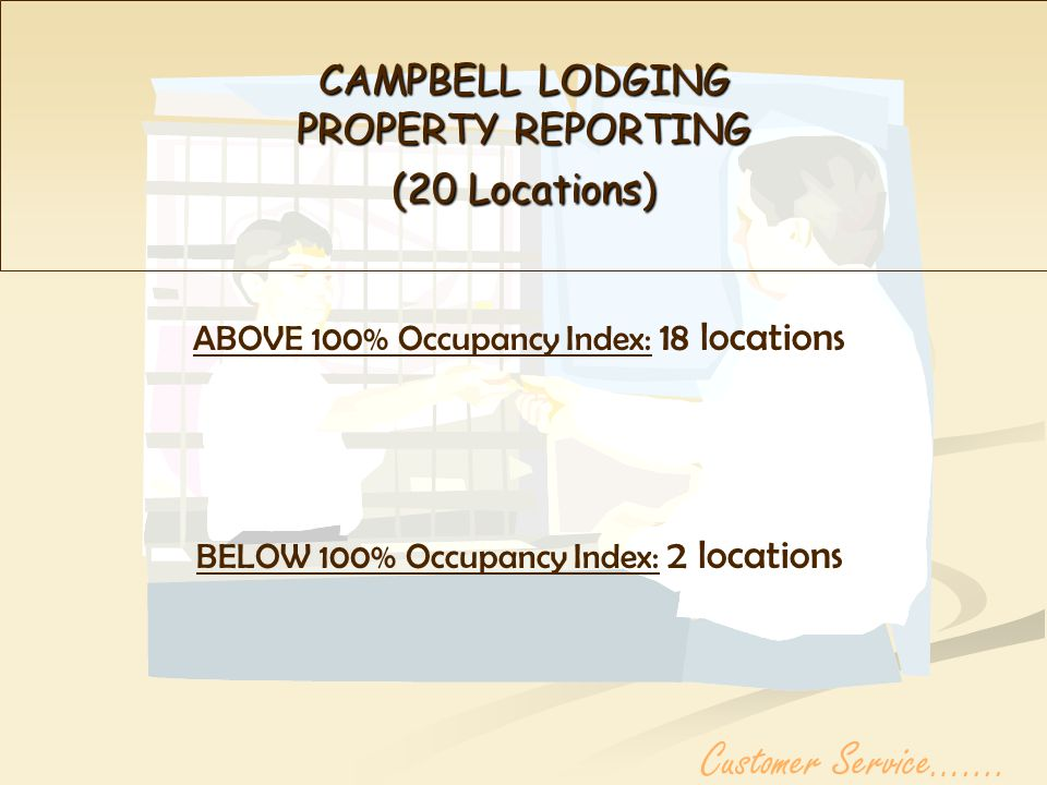 CAMPBELL LODGING PROPERTY REPORTING (20 Locations) ABOVE 100% Occupancy Index: 18 locations BELOW 100% Occupancy Index: 2 locations Customer Service…....