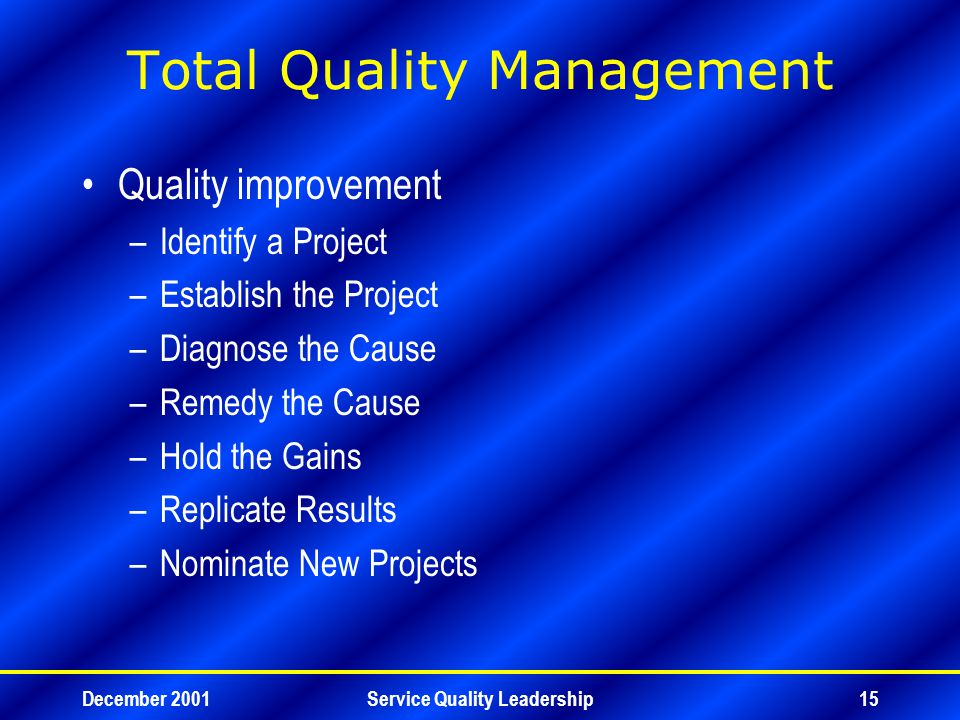 December 2001Service Quality Leadership15 Total Quality Management Quality improvement –Identify a Project –Establish the Project –Diagnose the Cause –Remedy the Cause –Hold the Gains –Replicate Results –Nominate New Projects