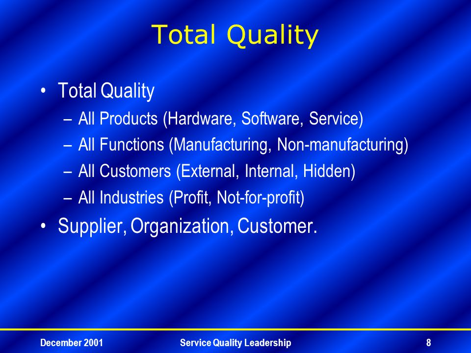 December 2001Service Quality Leadership9 Total Quality Management Financial Management –Financial Planning – Budget –Financial Control – Cost Control –Financial Improvement – Cost Cutting.