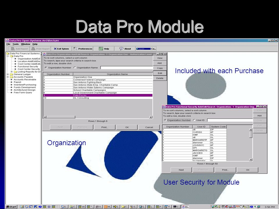 Data Pro Module Organization User Security for Module Included with each Purchase
