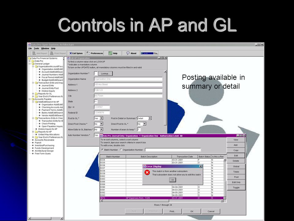 Controls in AP and GL Posting available in summary or detail