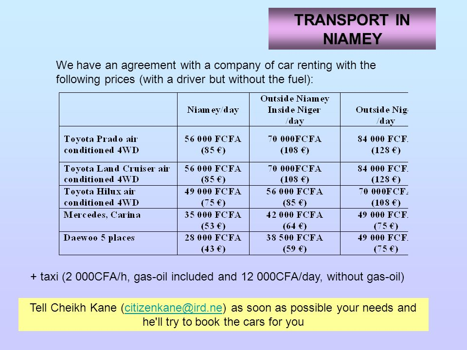 TRANSPORT IN NIAMEY We have an agreement with a company of car renting with the following prices (with a driver but without the fuel): Tell Cheikh Kane (citizenkane@ird.ne) as soon as possible your needs and he ll try to book the cars for youcitizenkane@ird.ne + taxi (2 000CFA/h, gas-oil included and 12 000CFA/day, without gas-oil)