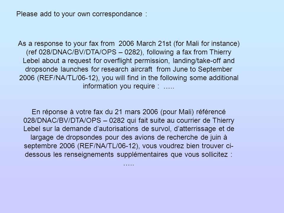 As a response to your fax from 2006 March 21st (for Mali for instance) (ref 028/DNAC/BV/DTA/OPS – 0282), following a fax from Thierry Lebel about a re