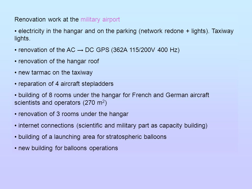 Renovation work at the military airport electricity in the hangar and on the parking (network redone + lights).