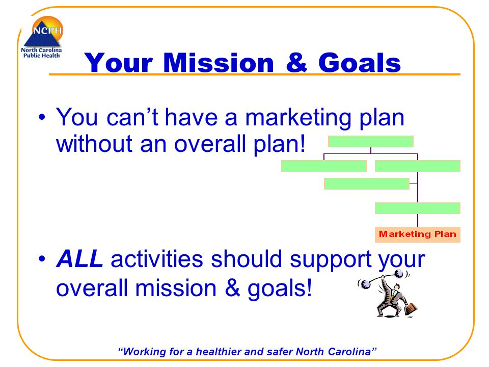 Working for a healthier and safer North Carolina Your Mission & Goals You cant have a marketing plan without an overall plan.