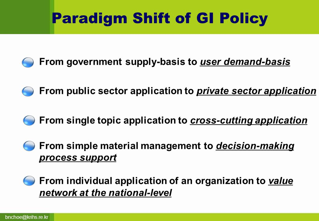 bnchoe@krihs.re.kr Paradigm Shift of GI Policy From government supply-basis to user demand-basis From public sector application to private sector application From single topic application to cross-cutting application From simple material management to decision-making process support From individual application of an organization to value network at the national-level