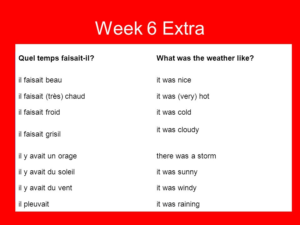 Week 6 Extra Revisit the previous 5 weeks Home Learning.