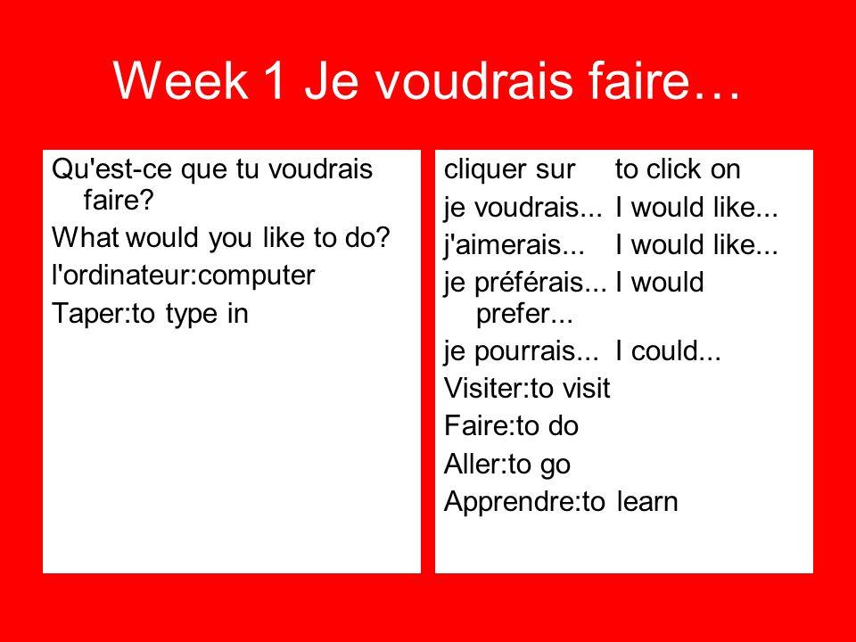 Week 1 Je voudrais faire… Qu'est-ce que tu voudrais faire? What would you like to do? l'ordinateur:computer Taper:to type in cliquer surto click on je