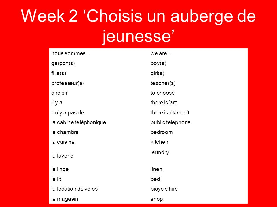 Week 2 Choisis un auberge de jeunesse nous sommes...we are... garçon(s)boy(s) fille(s)girl(s) professeur(s)teacher(s) choisirto choose il y athere is/